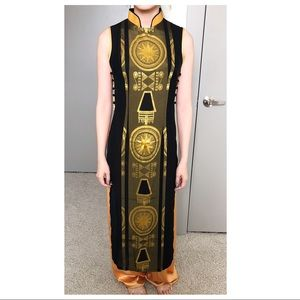 Dresses & Skirts - Vietnamese Sleeveless Chic Gold + Black Ao Dai